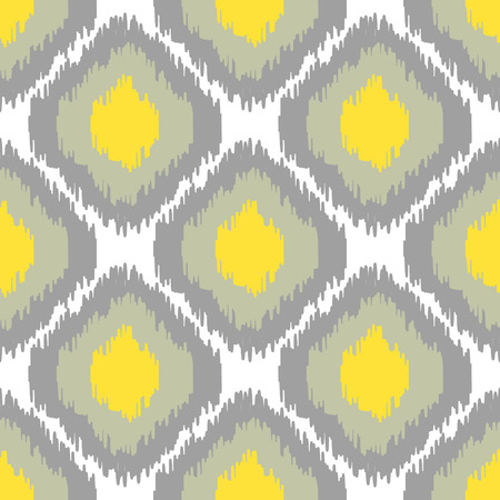 Ikat vector seamless pattern. Abstract geometric background for fabric, print or wrapping paper. Grey and yellow color