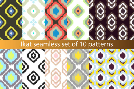 Ikat vector seamless pattern set. Abstract geometric background for fabric, print or wrapping paper. 10 paper collection