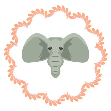 african grey: Elephant head vector cartoon illustartion. Grey african mammal in pink portrait frame. India animal inspiration sign