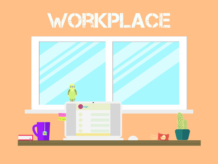 view window: Flat style workspace icons design. Workplace and home office desk with big window, tea, parrot, cacti. Front view.