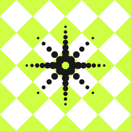 chessboard: Floor ceramic tiles pattern. Green and white chessboard squared ornament with black star from circles.
