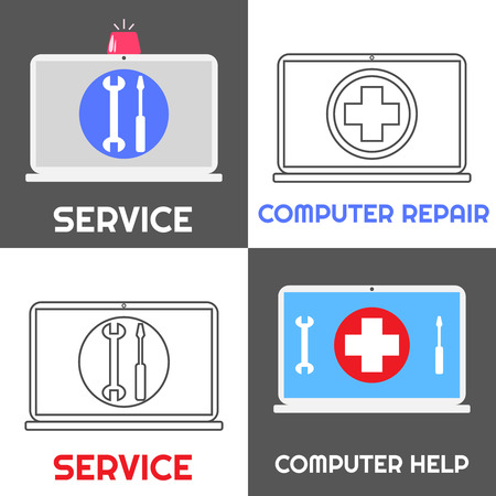 computer repair concept: Computer repair service. Laptop help icon set of four. Flat and linear style. Notebook with emergency siren and red cross sign, wrench and screwdriver. Illustration