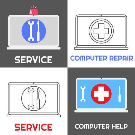 laptop repair: Servicio de reparaci�n de computadoras. Ayuda del ordenador port�til conjunto de iconos de cuatro. Estilo plano y lineal. Cuaderno con la sirena de emergencia y el signo de la cruz roja, llave inglesa y destornillador.