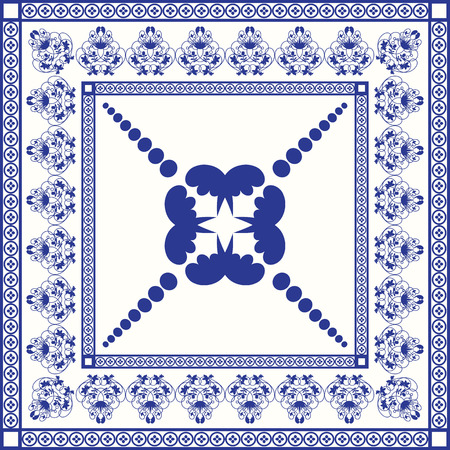 white tile: Mediterranean traditional blue and white tile pattern. Oriental arabesque ceramic tile. Illustration