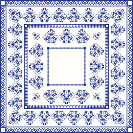 mediterranean: Mediterranean traditional blue and white tile pattern Illustration