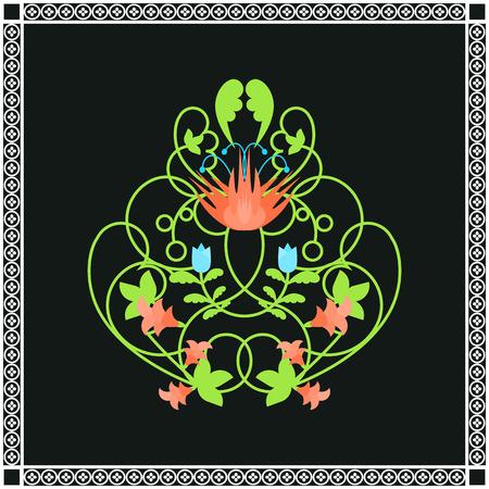 blumen verzierung: Floral ornament Illustration