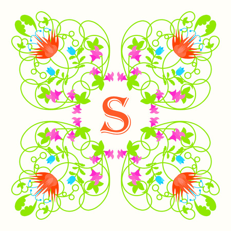 Floral monogram with letter s on white