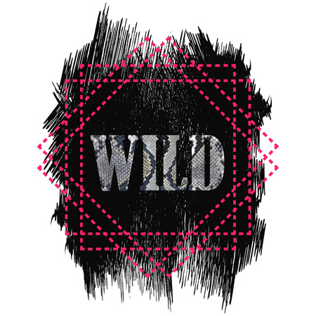 Tshirt design Wild word quote. Snake skin word on a grunge dark texture background isolated on white. Pink geometric dotted line frame 矢量图像