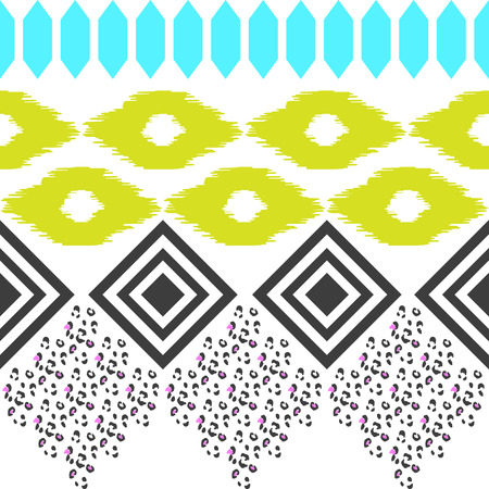 Geometric ethnic border pattern. Ikat rhombus and leopard skin ornament in eclectic style. Blue, green and black shapes.