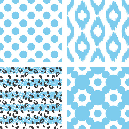 leopard: Set of vector seamless pattern. Abstract geometric background for fabric, ikat, leopard, polka and line print or wrapping paper. Blue light on white