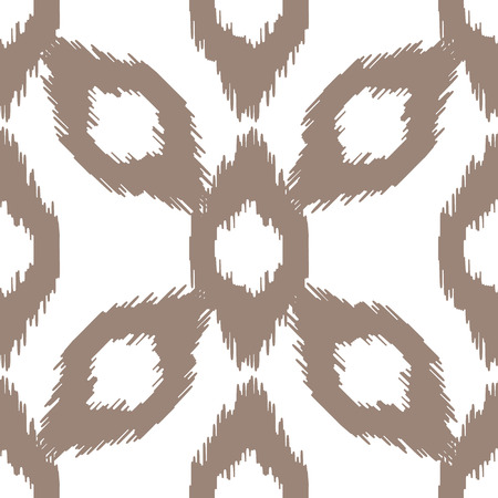 taupe: Ikat vector seamless pattern. Abstract geometric background for fabric, print or wrapping paper. Cappuccino beige on white Illustration