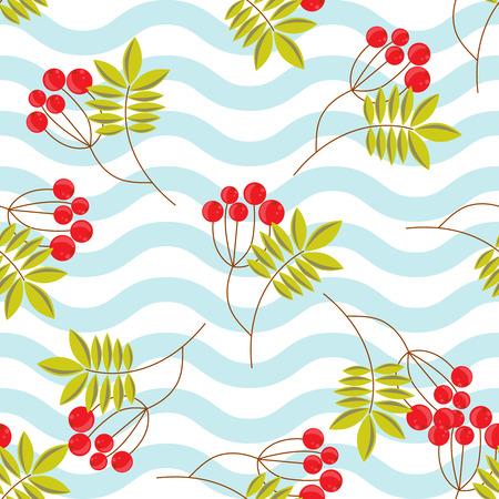 rowanberry: Rowanberry branch on blue waves seamless pattern. Vector winter holidays background.