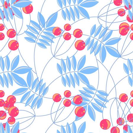winter holidays: Rowanberry blue branch seamless pattern. Vector winter holidays background. Illustration