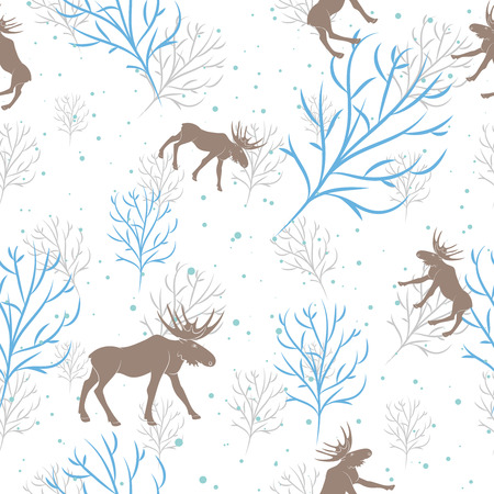 Forest deer seamless pattern. Vector winter holidays light white background. Trees silhouettes without foliage, moose and snow Vectores