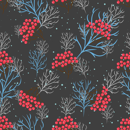 rowanberry: Rowanberry branch seamless pattern. Vector winter holidays dark grey background. Trees silhouettes without foliage and snow Illustration
