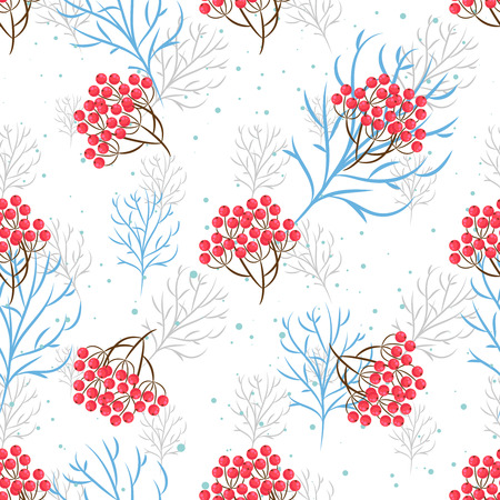 rowanberry: Rowanberry branch seamless pattern. Vector winter holidays light background. Trees silhouettes without foliage and snow