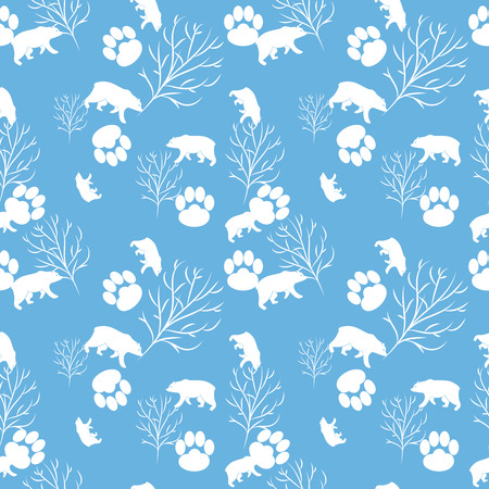 bear berry: Forest bear seamless pattern. Vector winter holidays light blue background. Trees silhouettes without foliage, animal paws and snow