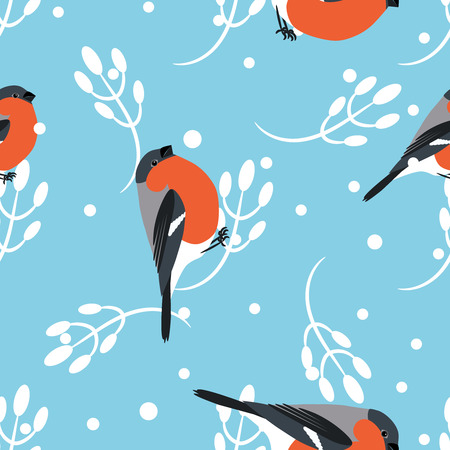 barbery: Bullfinch and berberry branch seamless pattern. Vector blue holiday winter background. Bird and forest berry print.