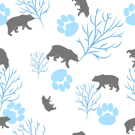 bear berry: Forest bear seamless pattern. Vector winter holidays light white background. Trees silhouettes without foliage, animal paws and snow