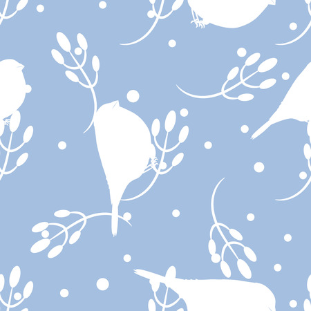 light blue: Bullfinch and berberry branch seamless pattern. Vector light blue holiday winter background. Bird and forest berry silhouettes print.