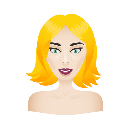 Face of a young model woman isolated on white. Blonde hair girl portrait with burgundy bright lips and make-up on. Illustration