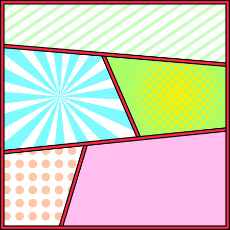 art frame: Pop art frame comics background template. Cartoon retro page with blocks, halftone and sunburst.  Pop-art style blank layout vector