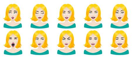 expresiones faciales: Rostro femenino Emociones establecido. Las expresiones faciales de la mujer icono de avatar. Calma, sorpresa, enojo, estr�s, confusi�n, riendo, curioso, atento, juguet�n, miedo