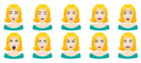 Emotions female face set. Facial expressions woman icon avatar. Calm, surprise, angry, stress, confusion, laughing, curious, thoughtful, playful, frightened Illustration