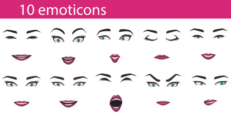 expression: Emoticons face expressions set. Facial emotions - brows, eyes, lips for character