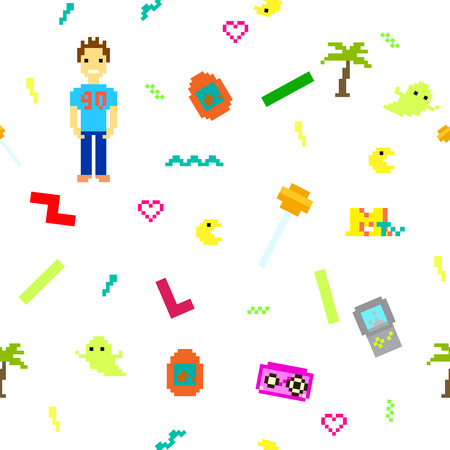 nineties: Pixel art 90s retro style seamless pattern. Nineties nostalgic white background with colorful objects pixel man, tamagotchi, pacman, tetris Stock Illustratie
