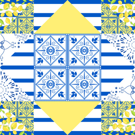 eclecticism: Seamless patchwork pattern. Mediterranean quilted textile tiles style. Geometric shapes.