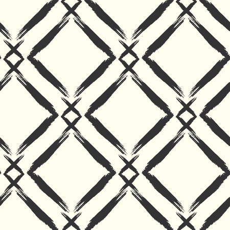 grunge pattern: Seamless grunge pattern. Brush strokes hand drawn texture. Rhomb lines on light background. Ink smears