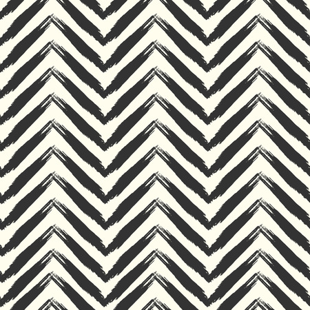 grunge pattern: Seamless grunge pattern. Brush strokes chevron hand drawn texture. Ink zigzag smears