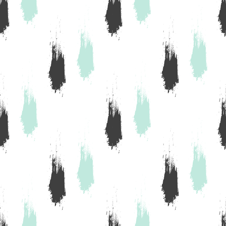 grunge pattern: Seamless grunge pattern. Brush strokes hand drawn texture. Black and mint ink smudge smears