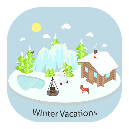 lake house: Winter landscape background with wooden house in front of forest and mountains. Frozen lake, bonfire and snowman.