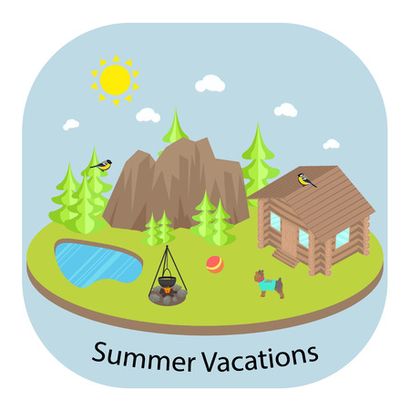 fishing village: Summer vacation landscape background with wooden house in front of forest and mountains. Pond lake, bonfire and yorkshire terrier.