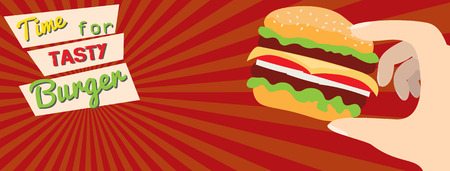 Fast food flat advert banner.