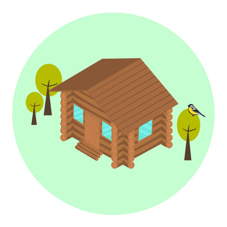 home concept: Wood log isometric house icon with trees and titmouse. Eco home concept
