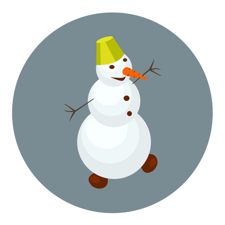 snowman isolated: Snowman with green hat cartoon icon, isometric view. Flat style character
