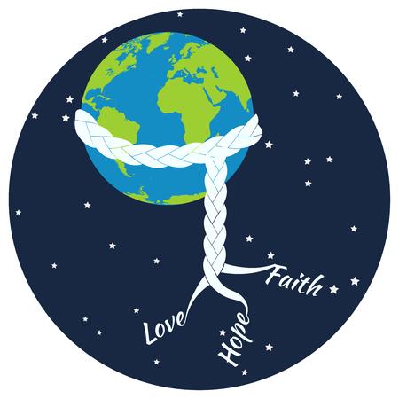peace and love: International day of peace. Love Hope Faith concept illustration. Illustration