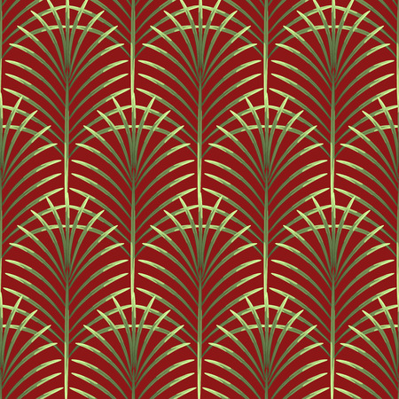 Palm leaves vector seamless pattern. Tropical leaf background, jungle tree branch. Botanical fan ornament on red.