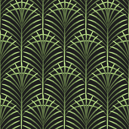 Palm leaves vector seamless pattern. Tropical leaf background, jungle tree branch. Botanical fan ornament on black. Vettoriali