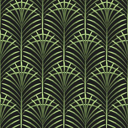 Hojas de palma vector sin patrón. Fondo tropical de la hoja, rama de un árbol de la selva. Ornamento del ventilador Botánico en negro.