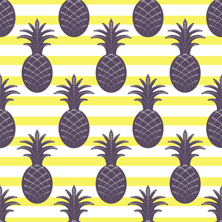 Pineapple seamless pattern on yellow and white stripe background. Stylized ananas fruit.