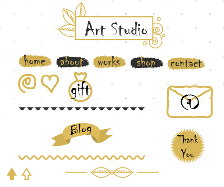 mail icon: Blog template elements in gold and grey. Logo, menu buttons, mail icon, dotted seamless background and dividers for creative  bloggers.