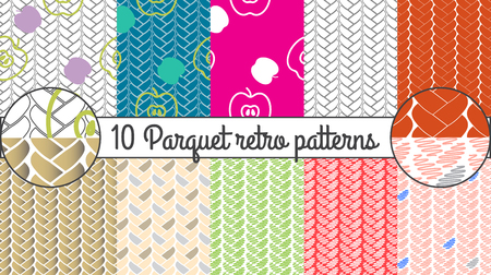 Vector seamless pattern set. Parquet retro background. Illustration