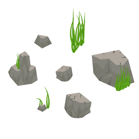 nodule: Stone rocks with grass isolated on white. Elements of ruined crag and green algae for game art. Illustration