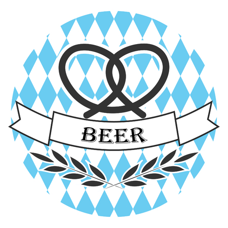 ale: Beer oktoberfest line logo badge. Pretzel and wheat spica branch. Round linear Oktoberfest label sticker. Blue and white backdrop