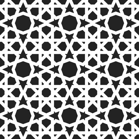 seamless tile: Moroccan pattern. Eastern traditional style. Oriental endless ornament, white lines, circles and stars on black background. For textile and linen design.