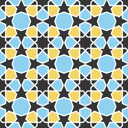 octagonal: Arabic geometric pattern. Seamless vector background in traditional eastern style. Blue and yellow octagonal stars